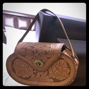 Vintage Hand-Tooled Leather Bag | Hippie | Western